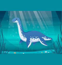underwater dinosaur cartoon composition vector image