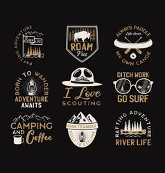 Vintage camp logos mountain adventure badges set vector