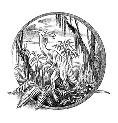 Vintage landscape with a dinosaur in the vector