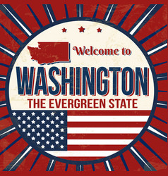 welcome to washington vintage grunge poster vector image