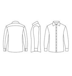 White blank business mans shirt with long sleeves vector