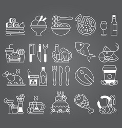 white line set of flat icons and elements vector image vector image
