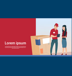 woman sign document courier man box delivery vector image