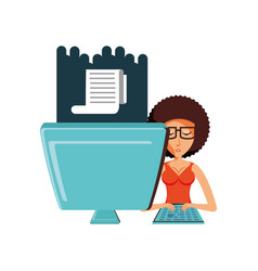 woman with desktop computer and paper receipt vector image