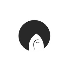 young girl with bob hairstyle logo abstract vector image