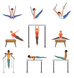 Young guys training on various gymnastics vector
