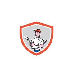 Barber Holding Scissors Comb Cartoon vector image vector image