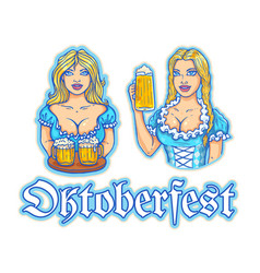 girls with beer for oktoberfest party vector image vector image