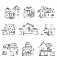 set of houses v vector image vector image