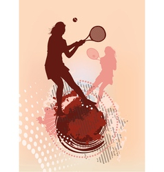 tennis girl silhouette vector image vector image