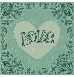 Vintage Valentines Day card with a floral frame vector image