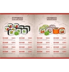 Color horisontal sushi menu vector image