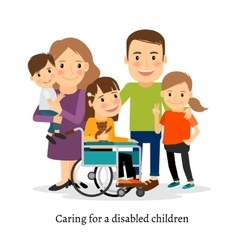 Family with special needs children vector image