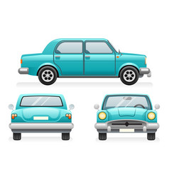 Front back side point view retro car icons set vector