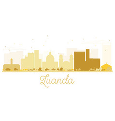 luanda city skyline golden silhouette vector image
