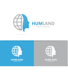 man and planet logo combination face vector image vector image