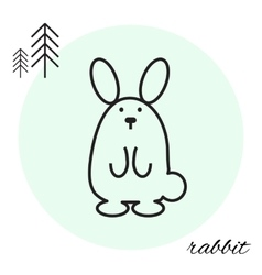 rabbit thin line icon vector image