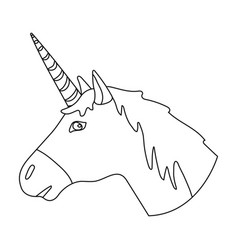 unicorn icon in outline style isolated on white vector image vector image