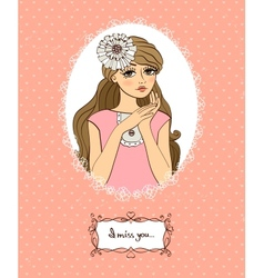 Valentines card with cute girl vector image