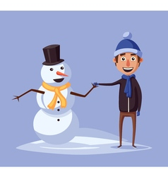 Boy making cute snowman Cartoon vector image vector image