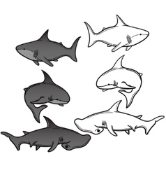 set of cartoon shark vector image