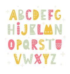 trendy scandinavian folk alphabet vector image