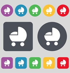 baby pram icon sign A set of 12 colored buttons vector image