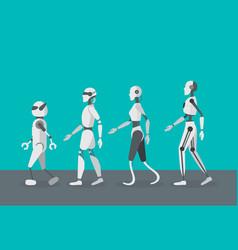 cartoon color android robots set vector image