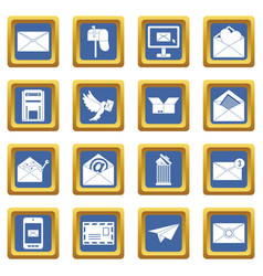 email icons set blue vector image