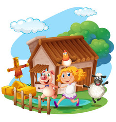 girl and farm animals at home vector image vector image