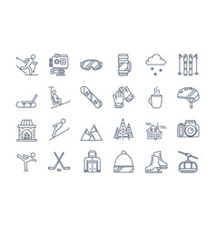 outline winter sport icons set vector image
