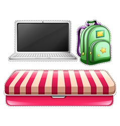 Sticker set of computer and backpack vector image vector image