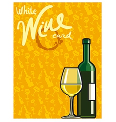 white dry wine card vector image