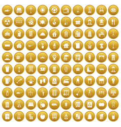 100 cleaning icons set gold vector