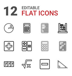 12 math icons vector