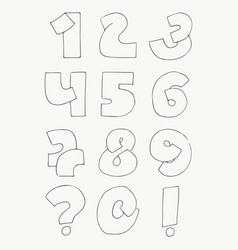2d hand drawn numbers from 1 to 0 in simple vector