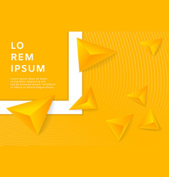 abstract yellow background with 3d triangle vector image