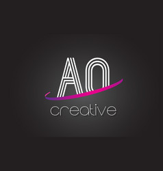 Ao a o letter logo with lines design and purple vector
