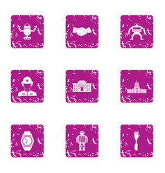 Automatic weapon icons set grunge style vector