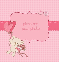 Baby greeting card with photo frame and place vector