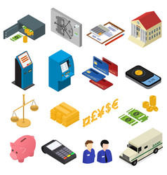 bank icons color set isometric view vector image