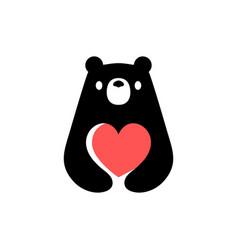 bear love valentine heart negative space logo icon vector image