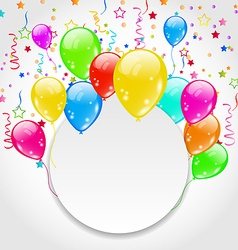 Birthday invitation with multicolored balloons and vector