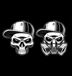 Black and white graffiti skulls vector