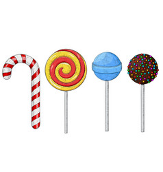 Candy lollipops colored hand drawn sketch vector