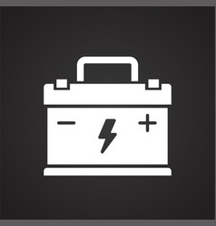 Car battery icon on black background for graphic vector