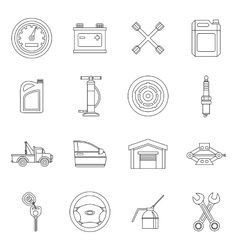 Car maintenance and repair icons set outline style vector