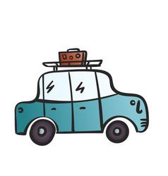cartoon car with luggage on roblue retro car vector image