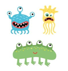 Cartoon cute and funny monsters and microbes vector