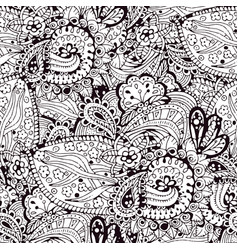 cartoon doodles hand drawn seamless pattern vector image